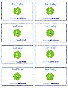 Fun Friday Reward Cards
