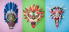 Ensemble des masques en paper art design pour le projet Graphical Carnaval 1