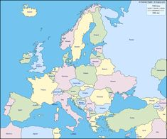 FREE EUROPE MAP PRINTABLE~  Blank, with countries, and other formats all free!