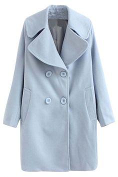 Stylish Solid Light Blue Woolen Pea Coat