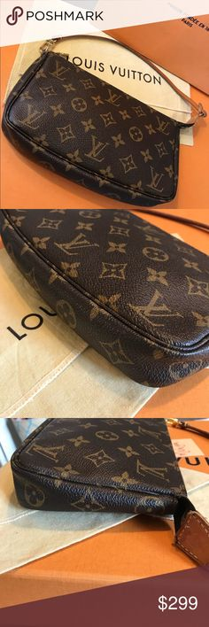 Louis Vuitton Monogram Pochette  Accessoires Authentic - VI1013 9/10 overall Great Condition  Canvas is strong and has vibrant colors  No odor , from smoke free home Mild fraying and worn split canvas near hardware on the end - see pic  Interior is clean - no marks or spot visible  Leather strap in good condition Dust bag and strap included Louis Vuitton Bags Shoulder Bags