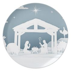 Nativity Christmas Scene Paper Art Style Plate - paper gifts presents gift idea customize
