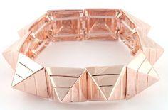 Ladies Rose Goldtone Pyramid Triangle Style Stretch Bracelet - $6