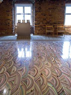 Marbelous Wood Floors by Snedker Studios-each board is hand colored by Pernille Snedker Hansen.