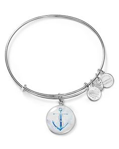 """Alex and Ani adds a nautical touch to its stackable bangle with an illustrated anchor charm symbolizing strength and inspiration. 