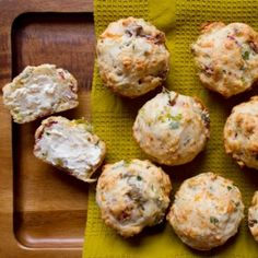 Savory spicy salami muffins with pepperoncini, cheeses, parsley, and olives.