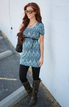 Maternity Style // Zigzag's, Curls, and Tall Brown Boots
