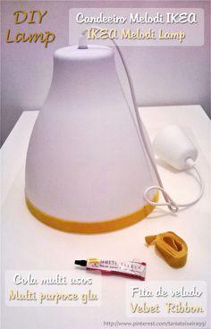 Ikea Melodi Pendant Lamp - DIY | Candeeiro Melodi IKEA com fita de veludo amarela | IKEA Hack