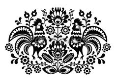 Polish floral embroidery with roosters pattern