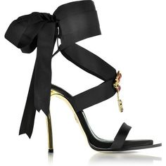 DSquared2 Treasures Black Satin Ankle Wrap High Heel Sandals w/Metal... ❤ liked on Polyvore featuring shoes, sandals, heels, black sandals, dsquared2 sandals, kohl shoes, ankle strap sandals and black satin shoes