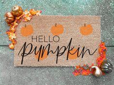 Hello Pumpkin Doormat Halloween Home Decor, Halloween House, Fall Home Decor, Autumn Home, Halloween Decorations, Fall Doormat, Wood Wedding Signs, Custom Wood Signs, Fall Signs