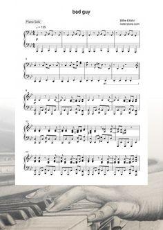 Ноты Billie Eilish - bad guy - Пианино.Соло Billie Eilish, Sheet Music, Songs, Guys, Boys, Music Sheets, Men