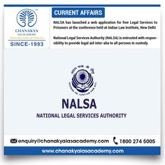 #CurrentNews  #NALSA has launched a web application for free Legal Services to Prisoners at the conference held at Indian Law Institute, New Delhi  National Legal Services Authority (NALSA) is entrusted with the responsibility to provide legal aid inter-alia to all persons in custody.  #UPSCPreparation #CSE2017 #UFCCourse #CurrentUpdates #ChanakyaIASAcademy #IAS #CurrentNews #TodayNews #UFC2017 #UPSC2017 #IASNews #Newsforias