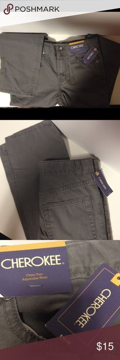 Cherokee chino pants adjustable waist 10 New with tags.  Flat front chino pants with adjustable waist. Cherokee Bottoms Casual