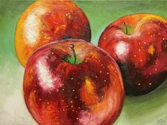 Apples 13 painting 18x24 inch original still life oil painting by Roz