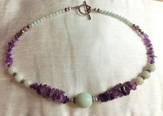 Stunning Green African Jade and Purple Amethyst Stones Necklace by Cre8tiveInnovations on Etsy