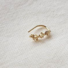 32910da53 14K Yellow Solid Gold Flowers Nose Ring