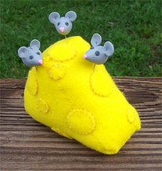 I have got to learn to make special pins,  See how the add to the piece. Swiss Cheese Felt Pincushion with Three Decorative Mice Pins