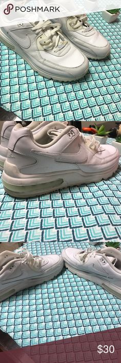 Men's Nike Airmax. White Nike Air Max. The lift on the Air Max's makes men's calves look so sexy!!!has some scuffing on the Back as shown in pictures- so item is priced accordingly 🔥👌🏼 great deal! Price is FIRM!!!! Nike Shoes Sneakers