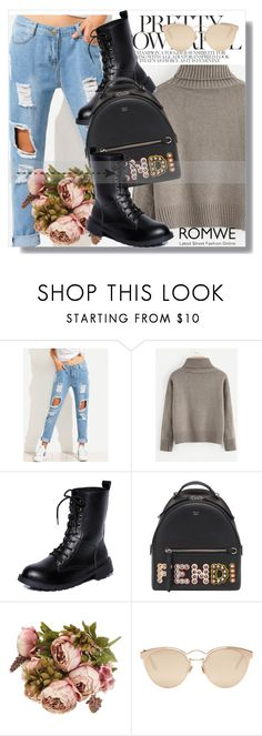 """Romwe !!"" by dianagrigoryan ❤ liked on Polyvore featuring Fendi and Christian Dior"