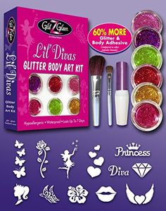 Glitter Tattoo Kit LIL DIVAS - HYPOALLERGENIC and DERMATOLOGIST TESTED!- with 6 LARGE Glitters Pots, Large Body Adhesive, Most Beautiful Large Stencils & 2 Cosmetic Brushes for glitter tattoos / kids tattoos