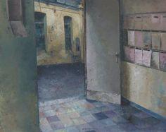 Matteo Massagrande, Androne, 2008, tecnica mista su tavola, 40 x 50 cm #contemporary #art #painting