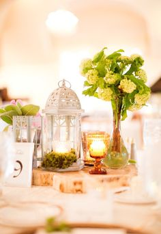 love white lanterns as centerpieces