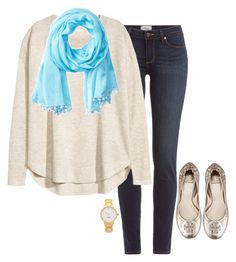 """""""Pop of blue"""" by km213 ❤ liked on Polyvore featuring Paige Denim, H&M, Tory Burch, Kate Spade and Sperry Top-Sider"""