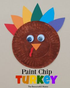 Grab some paint chips and a small paper plate and make this turkey kid craft for Thanksgiving.