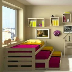 Loft Beds: Maximizing The Area Of Small Spaces – Bunk Beds for Kids Cama Murphy, Murphy Beds, Bunk Bed Designs, Diy Casa, Pallet Beds, New Room, Small Spaces, Beds For Small Rooms, Bedroom Decor