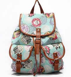 Lovely Design Fashion Print Multifunctional Large-Capacity Buckle Accent Backpack 4 Colors