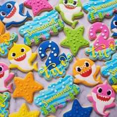 Anchoring Down in Second Grade Life: Savannah's Birthday – Baby Shark & Gift Ideas! 2nd Birthday Party For Girl, Shark Birthday Cakes, Second Birthday Ideas, Birthday Cookies, Birthday Gifts, Birthday Sayings, Valentine Cookies, Easter Cookies, Third Birthday