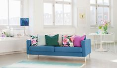 Accessorize with Spring colours. Karlstad 3 seater sofa cover in Marine Brera Lino. Cushion covers in Duck Egg, Ivy, Crocus Brera Lino by Designers Guild. www.bemz.com