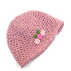 SALE 3-6 month Crochet Flower Baby Hat Pink £3.00