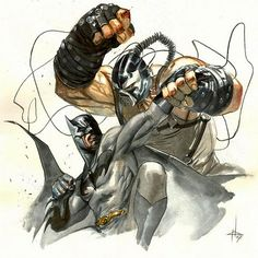 Batman vs Bane by Gabriele Dell'Otto