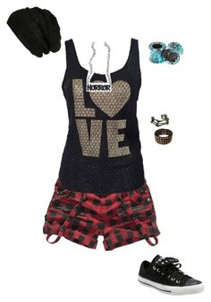 """""""Untitled #628"""" by death-to-your-heart ❤ liked on Polyvore featuring moda, Club L, Converse, Sourpuss, My Enemy i BP."""
