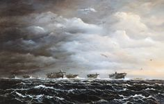"""Japanese Attack on Pearl Harbor, December Imperial Japanese Navy aircraft carriers in dawn fly-off for Pearl Harbor. Artwork by John Hamilton from his publication, """"War at Sea,"""" pg. Courtesy of the U. Navy Aircraft Carrier, Imperial Japanese Navy, Pearl Harbor Attack, December 7, World War Ii, Wwii, Hamilton, Dawn, Art Gallery"""