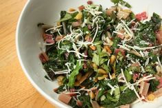 rainbow chard with pine nuts, parmesan and basil