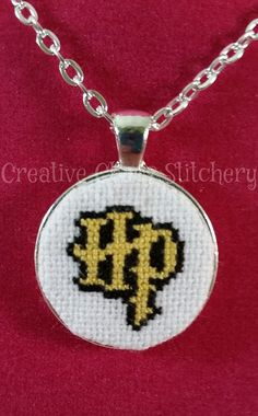 Cross Stitch Necklace  Book  Magic  Wizard by chaoticstitchery