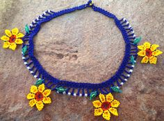 Mexican Huichol Beaded Flower Necklace Choker by Aramara on Etsy