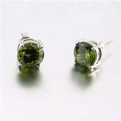 Round CZ Studs, Olive wholesale sterling and genuine gems paradisojewelry.com