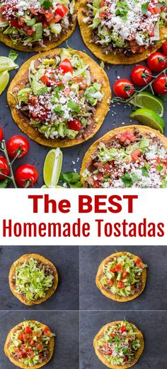 Homemade Tostadas are so satisfying and easy to make. These are loaded with refried beans, beef, and all of the best tostada toppings. You can prep the ingredients ahead if you were serving them for a party and let guests build their own Tostadas. Homemade Tostadas will make your tastebuds dance! They are so simple to make, super versatile and provide so many topping options. You can use both hot and cold ingredients. Our recipe includes some of our favorites. #tostadas #mexicanfood #tacos Fun Easy Recipes, Retro Recipes, Top Recipes, Popular Recipes, Meat Recipes, Mexican Food Recipes, Chicken Recipes, Easy Meals, Tostada Recipes