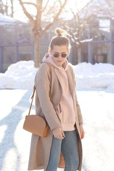 tifmys – Hoodie: H&M   Coat: Zara   Jeans: Cheap Monday   Sunnies: Ray Ban Round Metal   Bag: A.P.C. Half-moon bag   Shoes: Bronx Bow sneakers