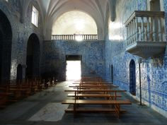 Chapel with stunning tile work in the Pousada Hotel of #Arraiolos in the Alentejo, #Portugal on a #CyclingCountry Bike Tour.