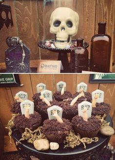 Cupcakes y decorados para una fiesta zombie o una fiesta Halloween! / Cupcakes and decorations for a zombie or Halloween party!