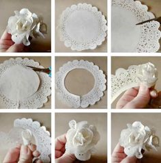 tutorial de flor hecha con blondas (Tutorial for roses made with paper doilies) Paper Doily Crafts, Doilies Crafts, Paper Flowers Diy, Handmade Flowers, Flower Crafts, Diy Paper, Paper Crafting, Fabric Flowers, Paper Lace