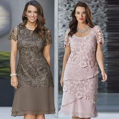 Wish   Women Fashion Round Neck Long Big Yards Lace Dress with Short Sleeves