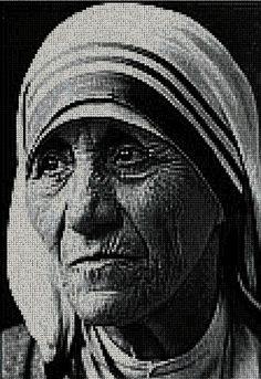 madre teresa de calcuta EN PUNTO DE CRUZ