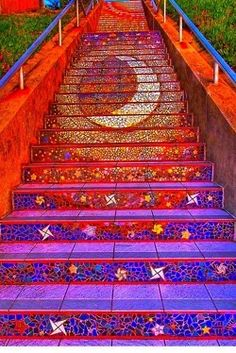 staircase cool art Sun, moon and star steps violet blue maroon orange sacred colors patterns geometry