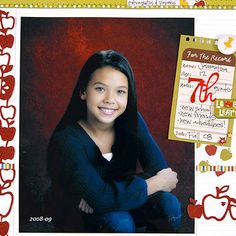 "Design by Shannon Tidwell Shannon designed her back-to-school scrapbook page on an expandable folder. The front of the envelope displays an 8x10"" school portrait, allowing ample space for the subject to shine. School-theme embellishments like notebook paper and apple shapes finish the page. Editor's Tip: When scrapbooking large school photos, plan hidden room for journaling and more photos. Shannon's folder is the perfect place to store extra pictures, papers, and other school memorabilia…"
